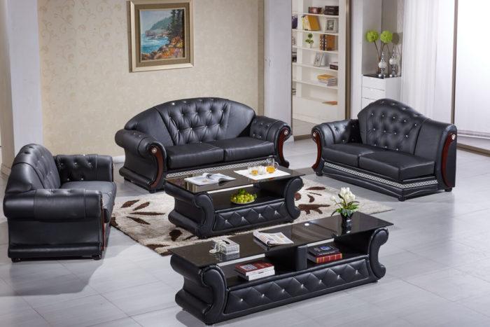 black soft leather sofa set
