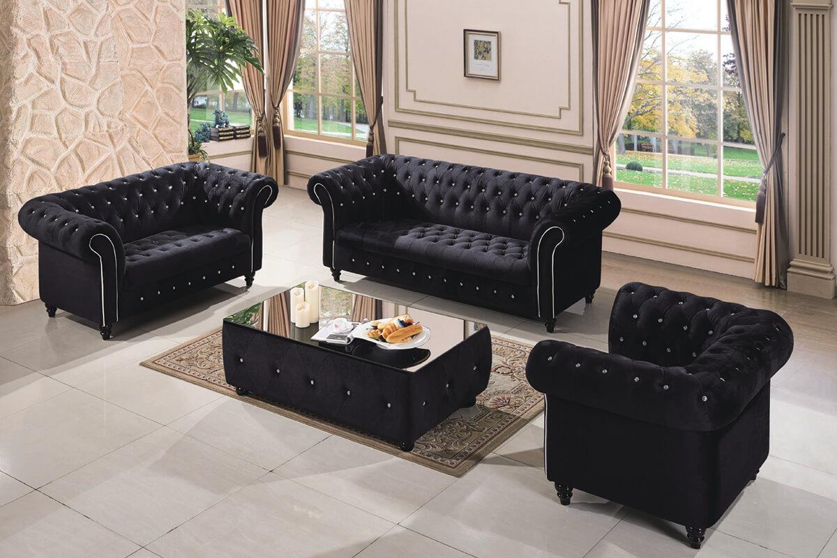 black tufted fabric sofa