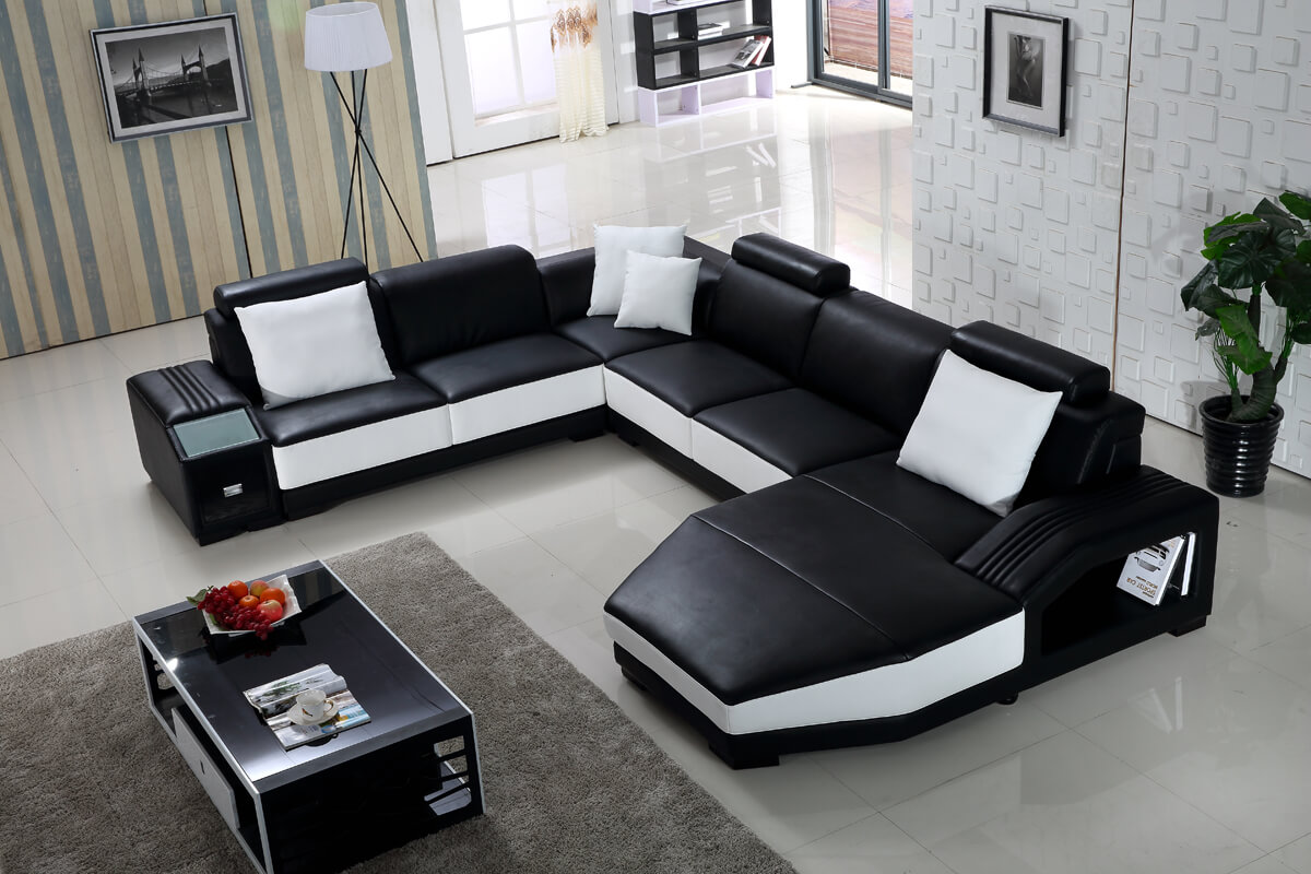 black u shaped chaise sectional