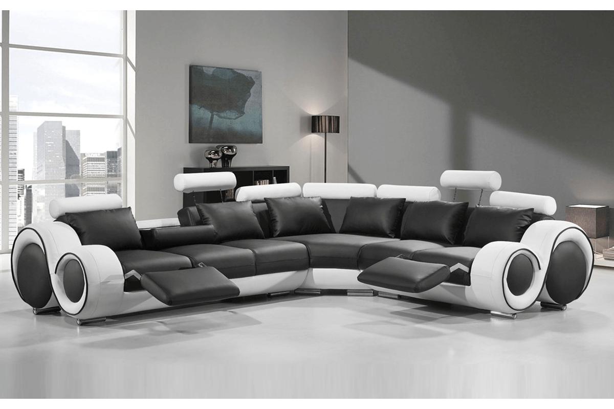 black & white leather reclining sofa