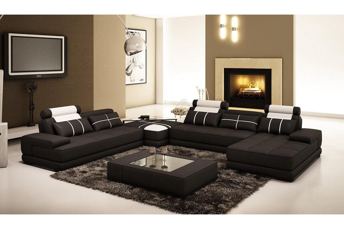 black leather deluxe corner sofa