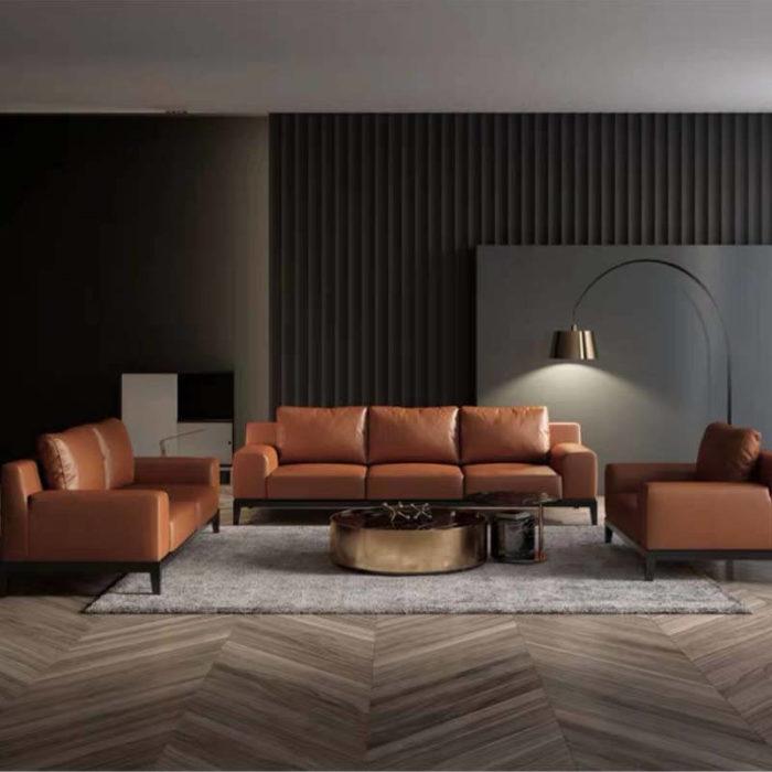 3 piece brown italian leather sofa set