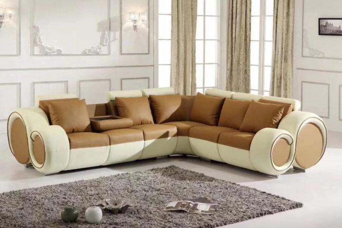 brown italian leather recliner corner sofa