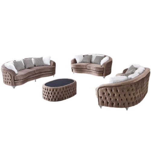 round fabric chesterfield sofa with ottoman