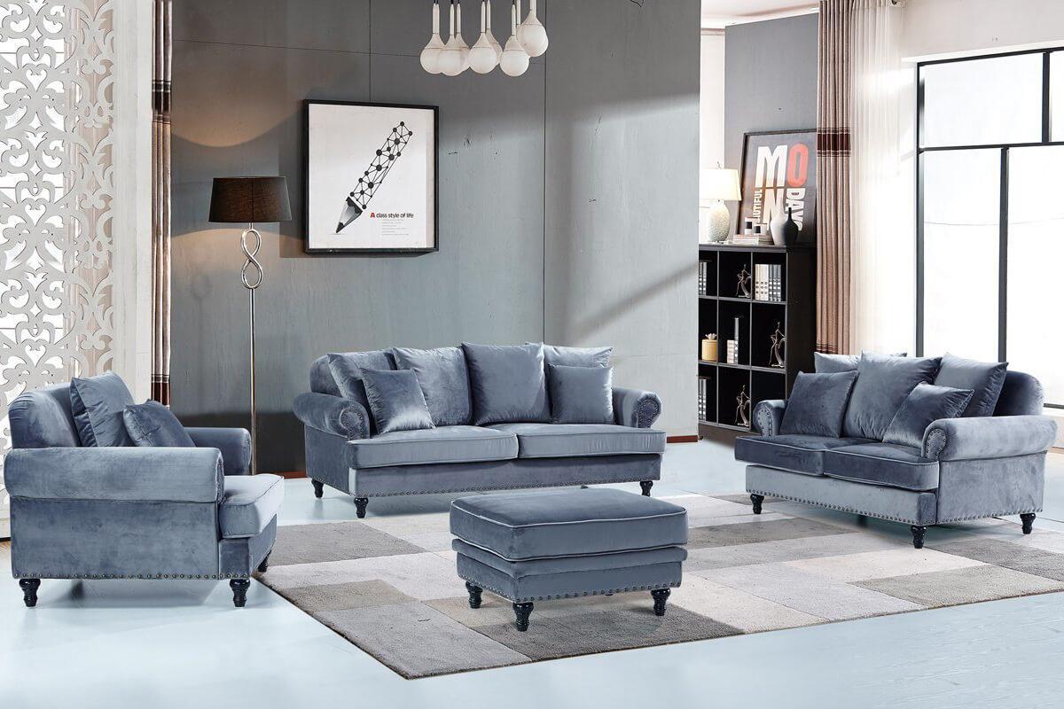 canadian modern tightback velvet sofa with ottoman