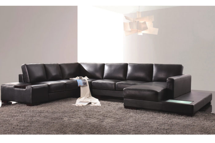 black leather l shaped couch with chaise