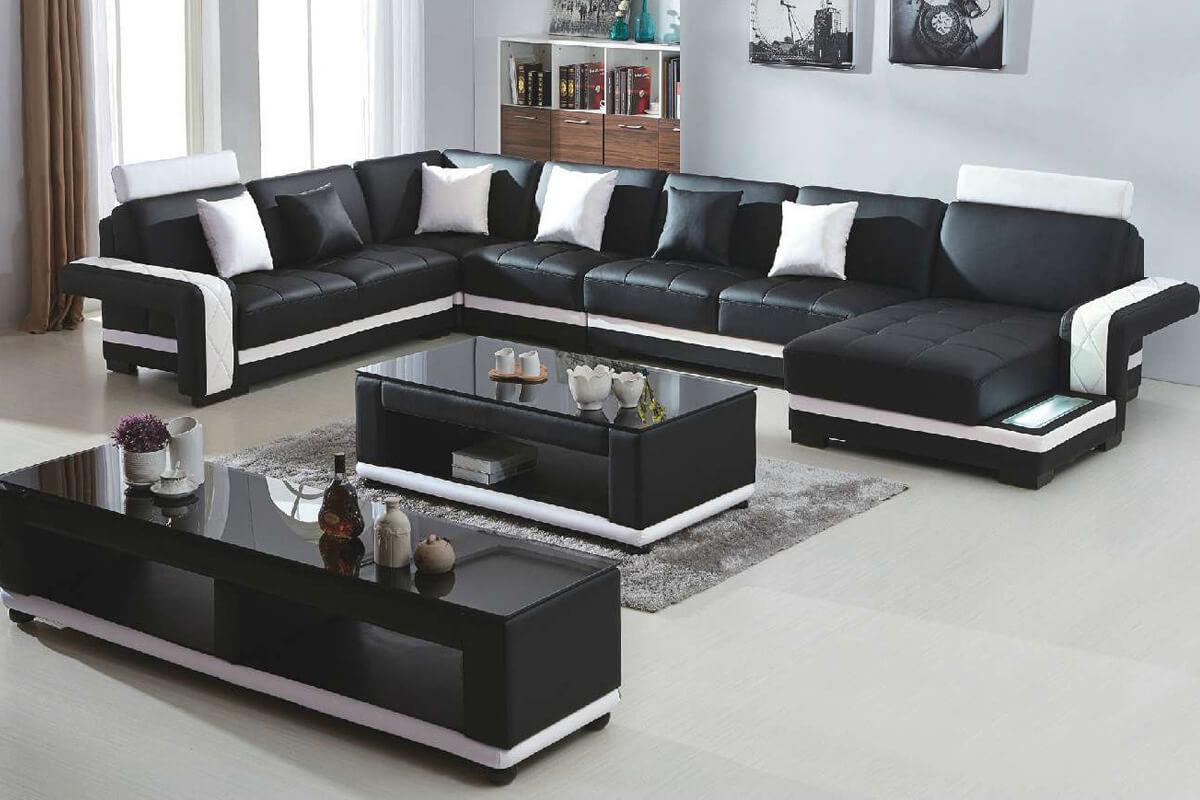 7 seater black leather u shaped corner sofa