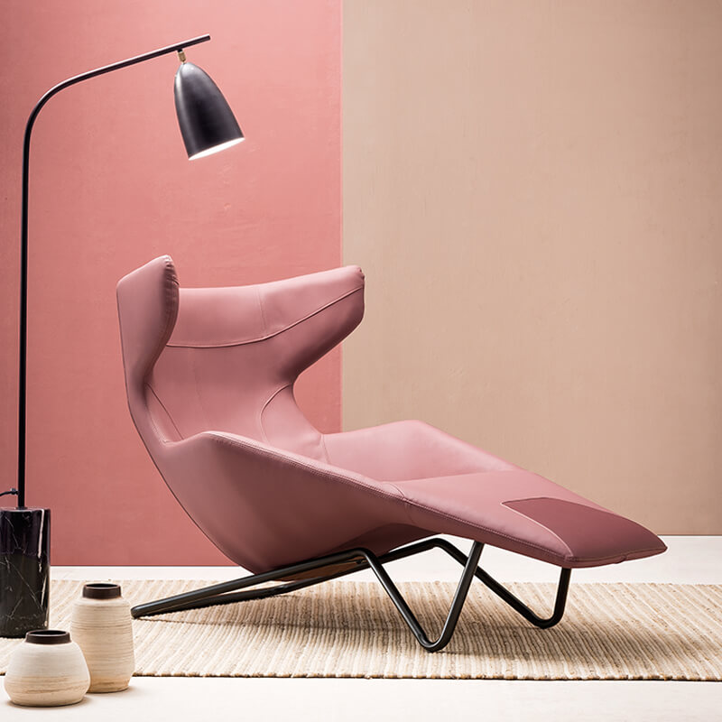 cherry long leather armchair design