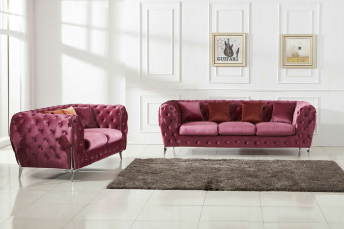 pink chesterfield fabric sofa