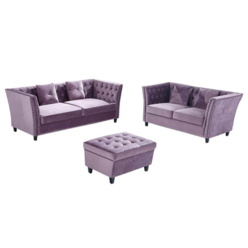 purple comfy chesterfield sofa