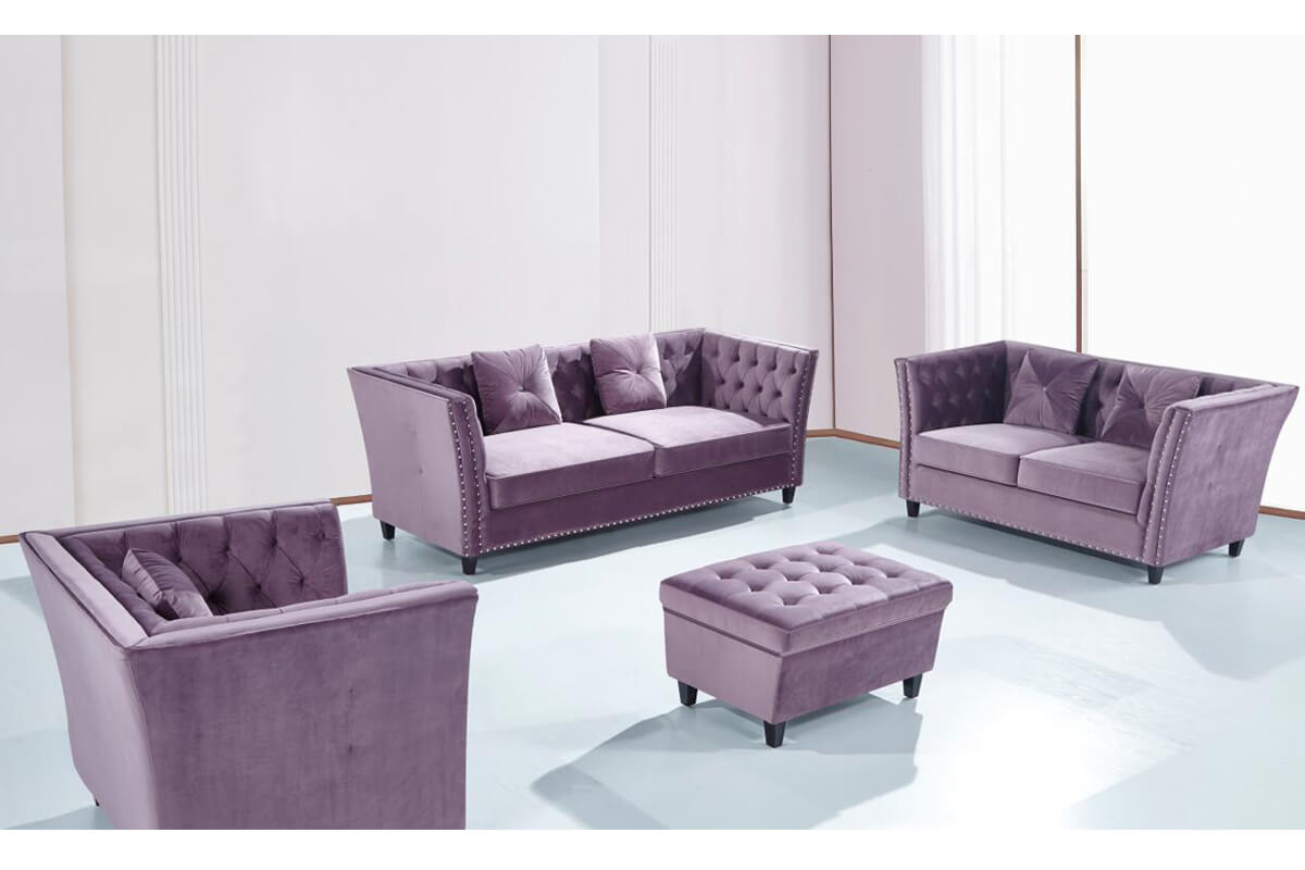 modern purple chesterfield sofa set with footstool