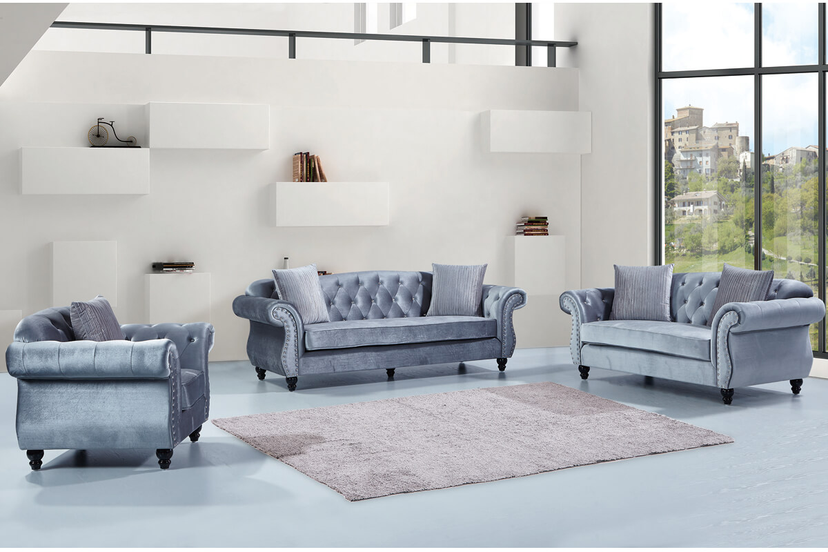 grey velvet chesterfield sofa