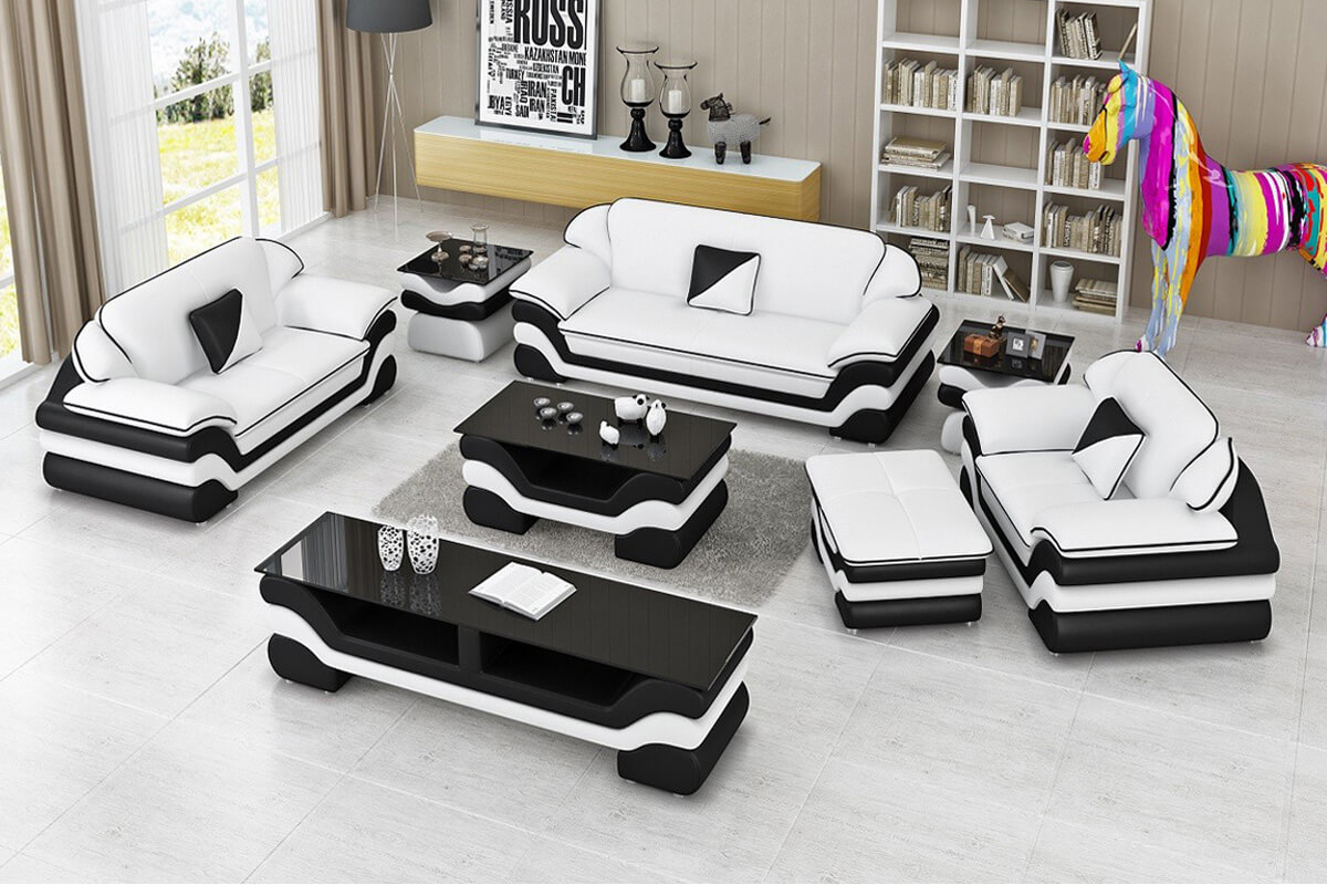 white leather new sofa set