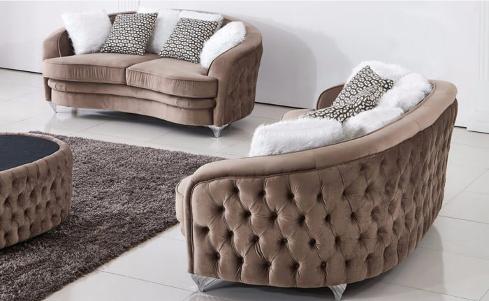 brown fabric chesterfield sofa