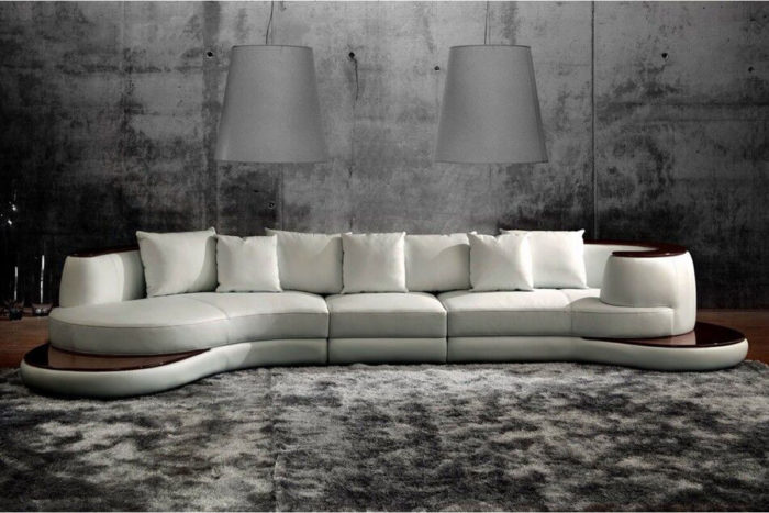 round white leather sectional couch