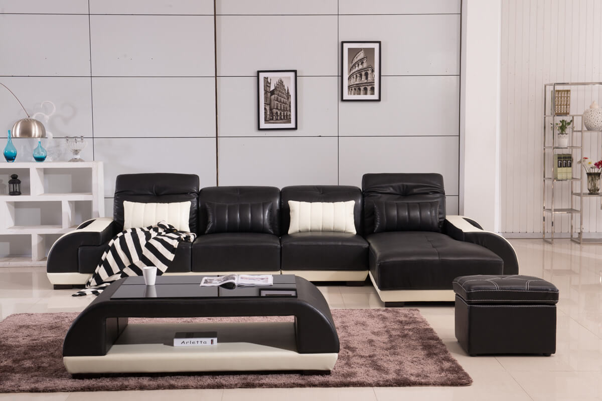 complete black leather corner sofa from china