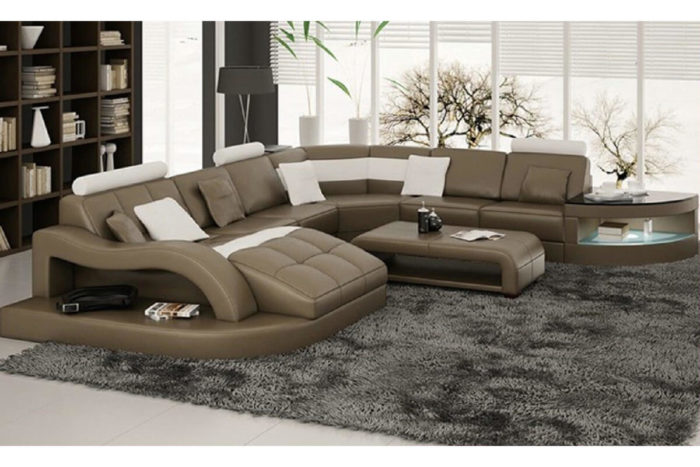large gray genuine leather sectional sofa