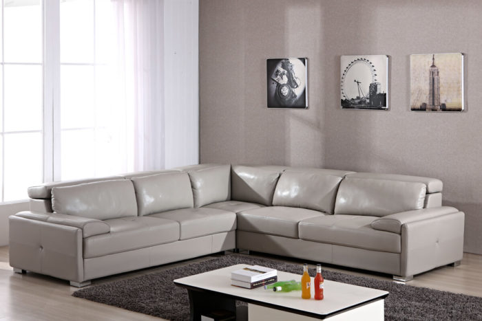 grey leather corner sectional sofa