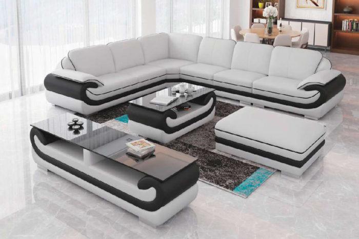 white leather l type sofa set