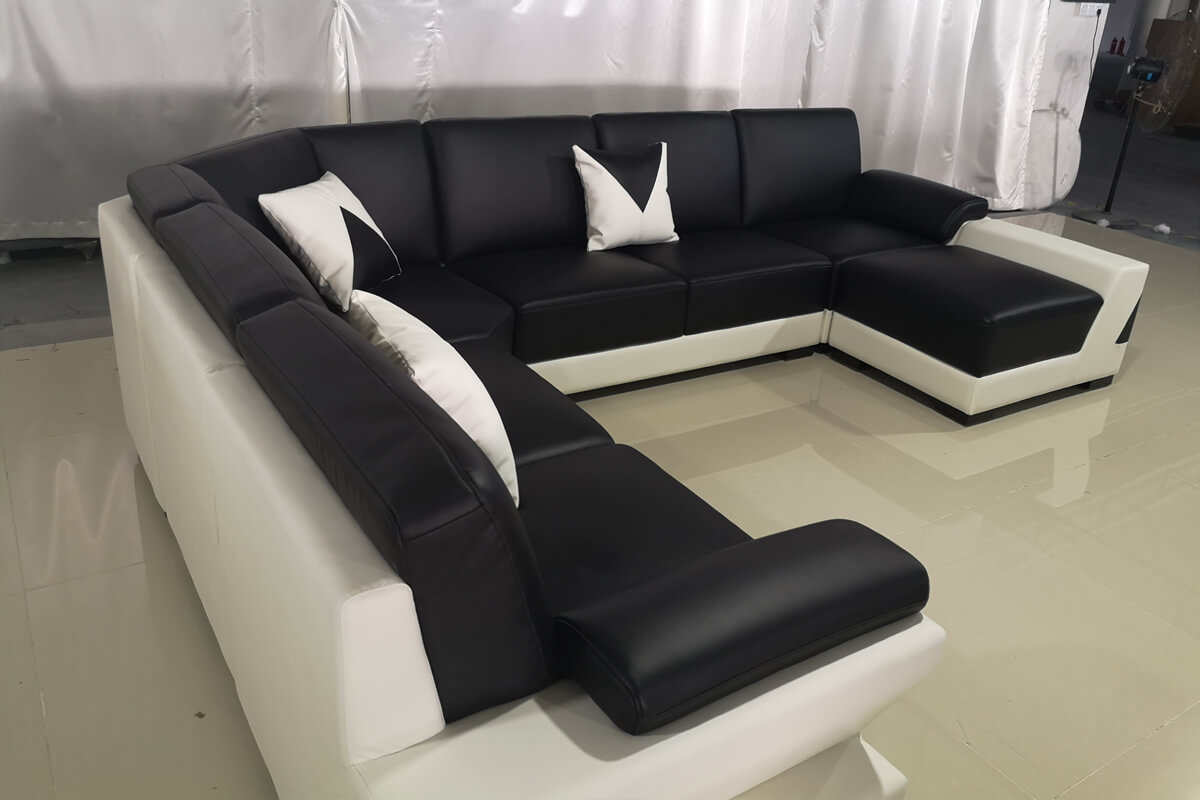 black leather sectional sofa modular