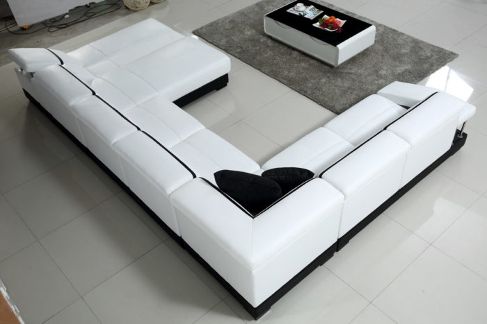 white leather u shaped chaise sofa