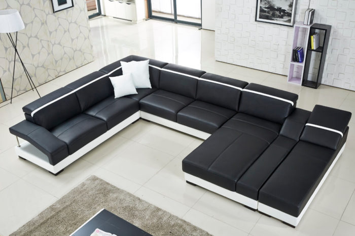 dual double chaise lounge u shaped sectional couch
