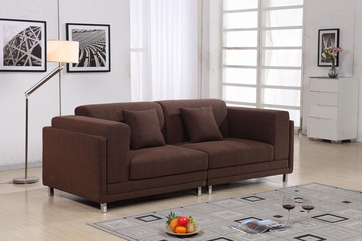 brown 2 seater fabric sofa