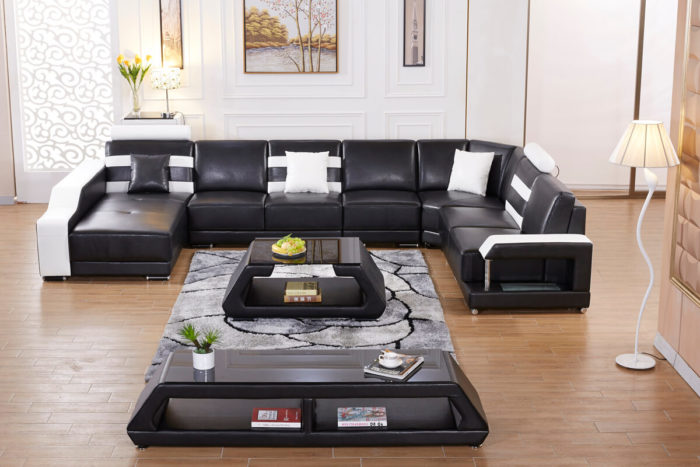 factory offer modern u shaped leather sofa with tables