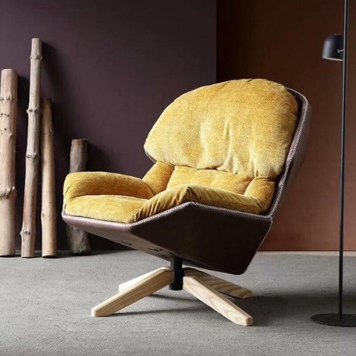 modern yellow swivel lounge chair