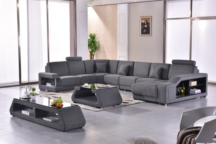 fashionable discounted grey fabric sectional couch