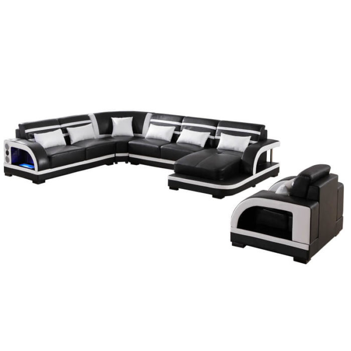 fashionable discounted leather sectional couch