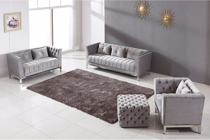 light grey chesterfield sofa with ottoman