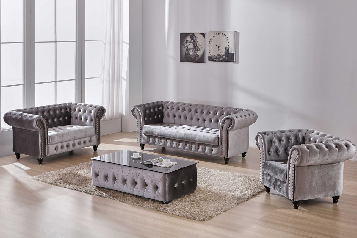 contemporary grey chesterfield sofa from china