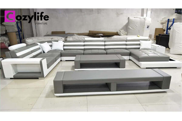 extra large grey modular leather sofa