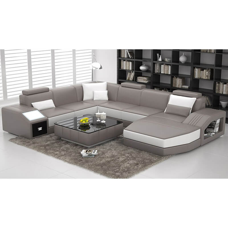 grey u shaped leather sectional couch