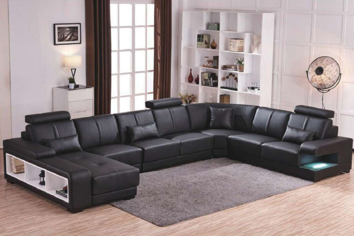 comfy U shaped black sectional couch