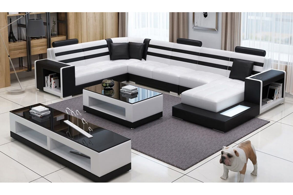 white leather sectional with storage