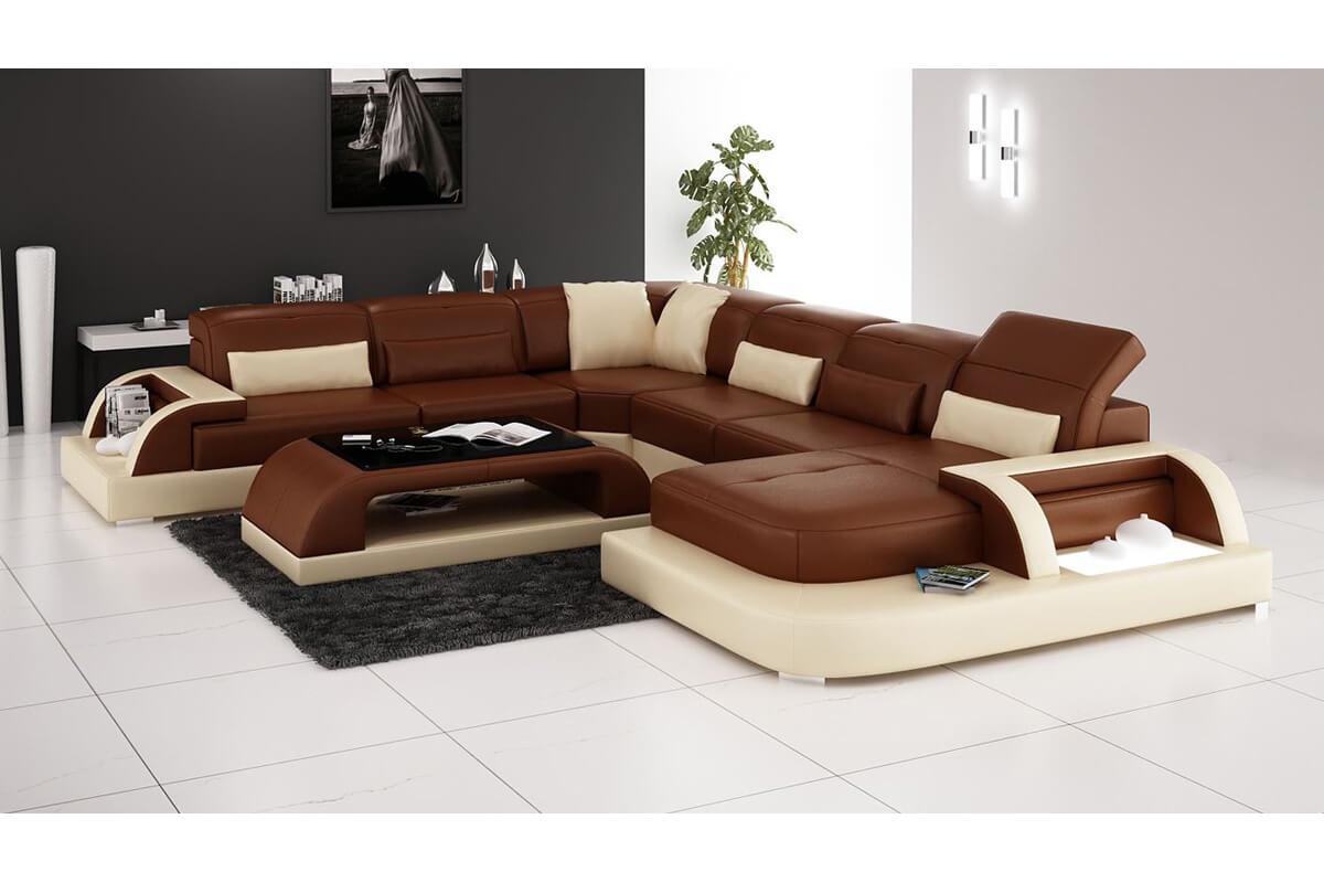 5 piece comfy brown u sectional sofa