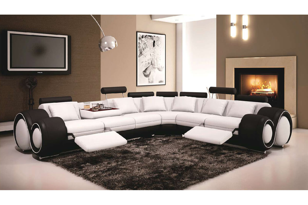 hot italian style genuine leather reclining sectional sofa