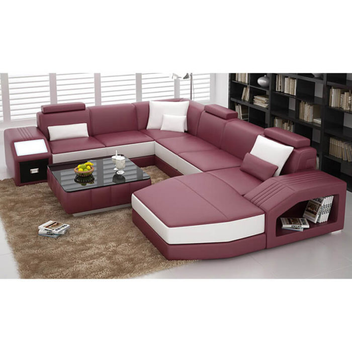 microfiber pink sectional sofa