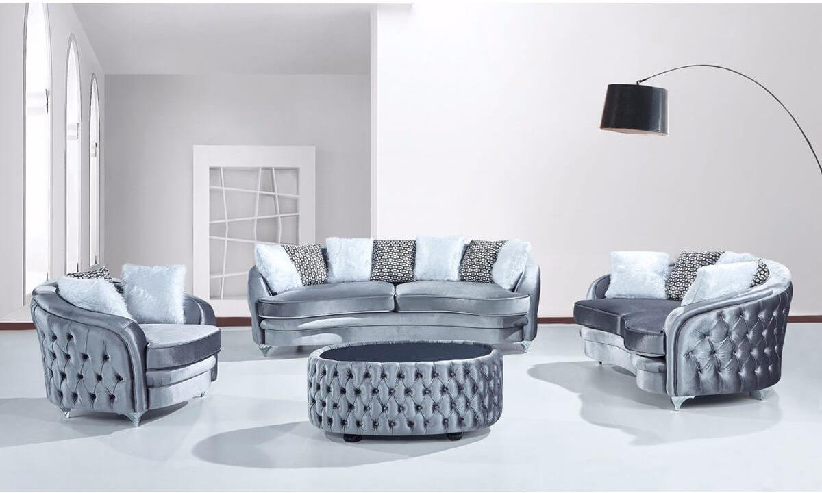 cicular blue velevt chesterfield sofa
