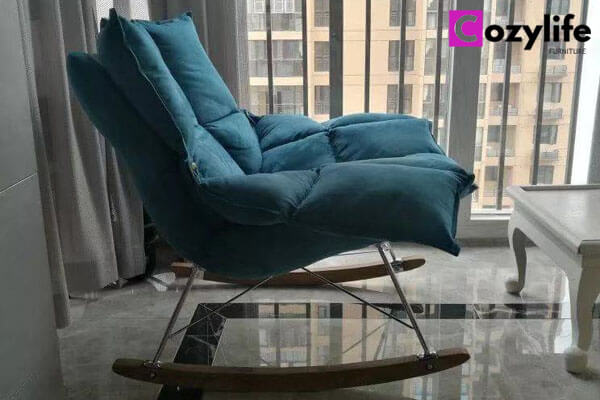 indoor blue rocking chair