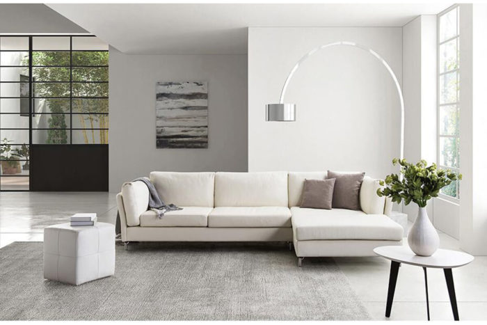 white leather sectional sofa for small space
