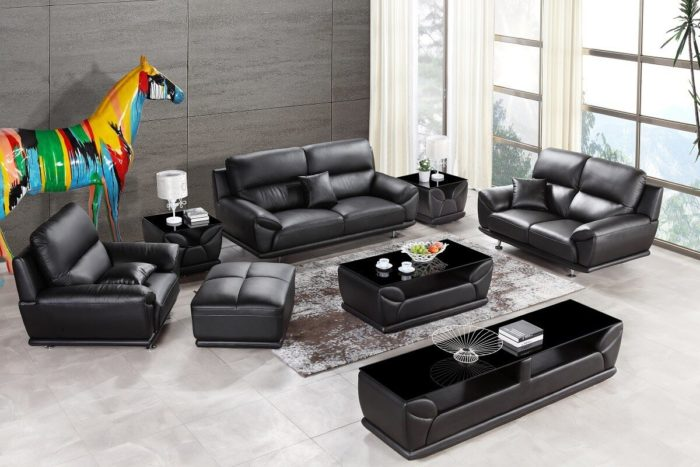 black leather couch and loveseat set