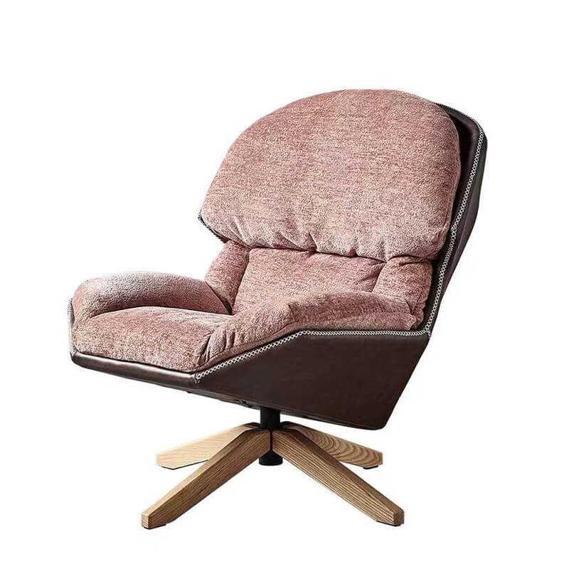 comfy swivel lounge chair in pink color