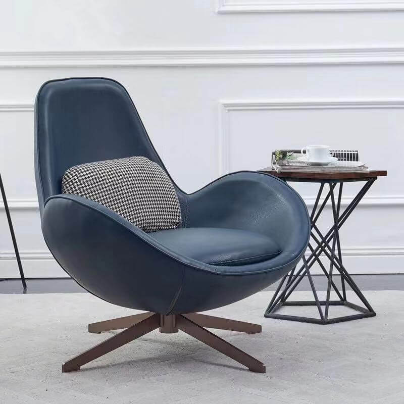 blue leather swivle armchair