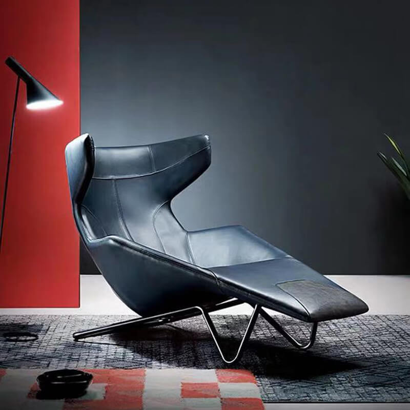 wingback leather long armchair