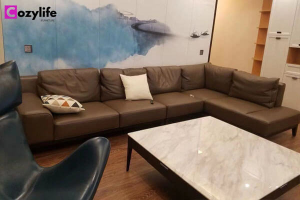 full grain brown leather l shaped sofa