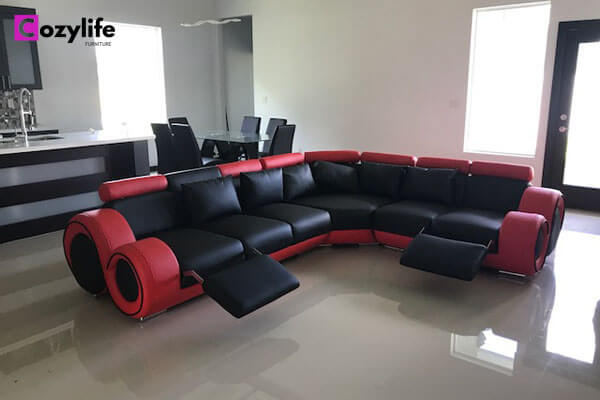 black sectional reclining sofa