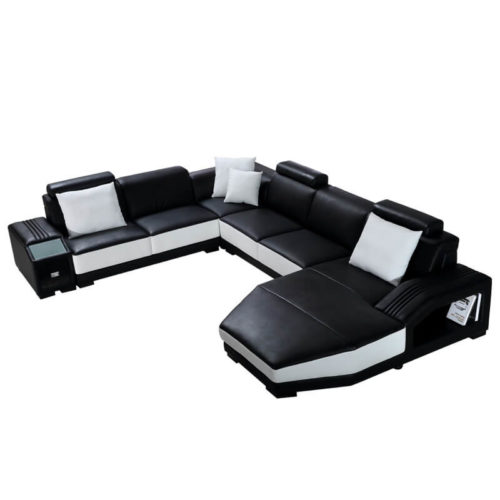 black sectional sofa with storage